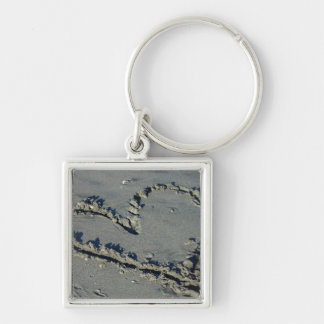 Heart In The Sand Silver-Colored Square Key Ring