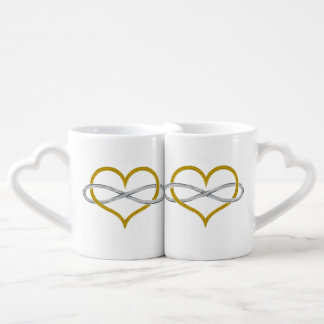 Heart Infinity Gold Silver Coffee Mug Set