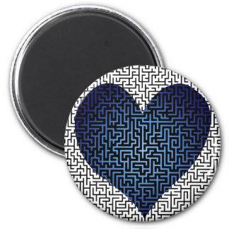 Heart is a Maze Blue Magnet