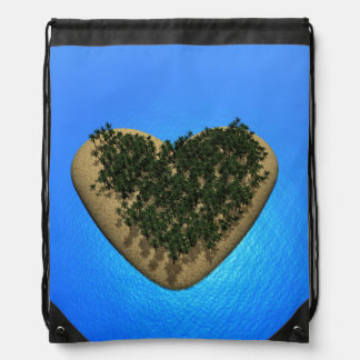 Heart island - 3D render Drawstring Bag
