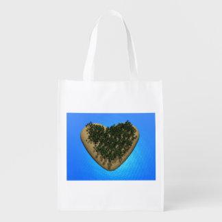 Heart island - 3D render Reusable Grocery Bag