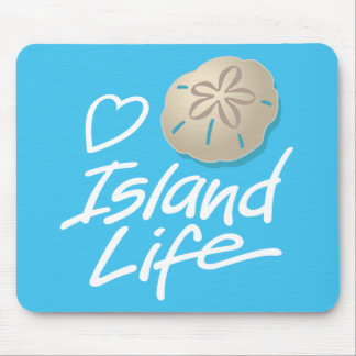 Heart Island Life mouse pad with Sand Dollar