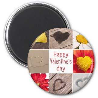 Heart joining Happy Valentine' S day 6 Cm Round Magnet