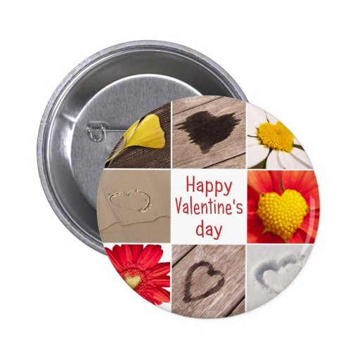 Heart joining Happy Valentine' S day Pinback Buttons