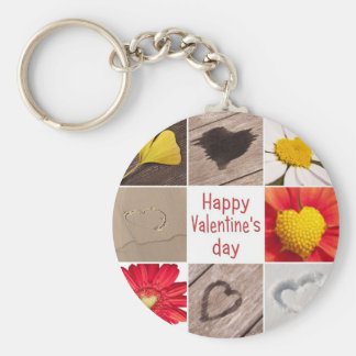 Heart joining Happy Valentine' S day Basic Round Button Key Ring