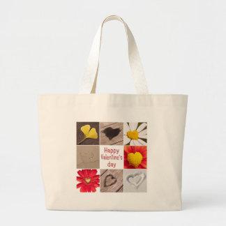 Heart joining Happy Valentine' S day Jumbo Tote Bag