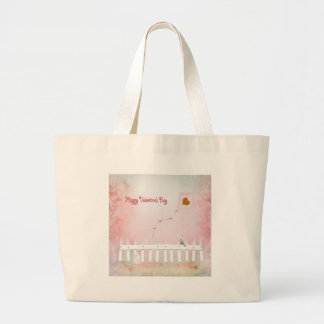 Heart Kite Flying, White Kitten, White Bird Large Tote Bag