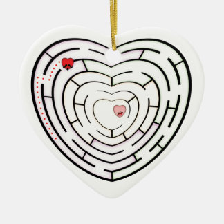 HEART LABYRINTH CERAMIC HEART DECORATION