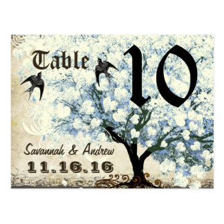 Heart Leaf Blue Tree Birds Table Number Card