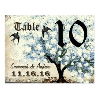 Heart Leaf Blue Tree Birds Table Number Card Postcard
