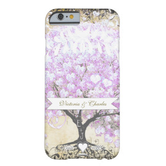 Heart Leaf Lavender Tree Vintage Bird Wedding Barely There iPhone 6 Case