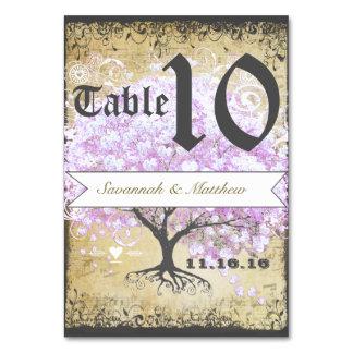 Heart Leaf Lavender Tree Vintage Bird Wedding Table Cards