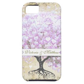 Heart Leaf Lavender Tree Vintage Bird Wedding Tough iPhone 5 Case