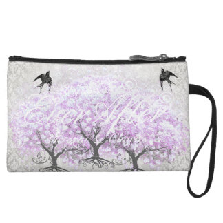 Heart Leaf Lavender Tree Vintage Bird Wedding Wristlet Purse