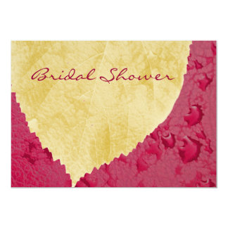 Heart Leaf on Purple - Fall Bridal Shower 5x7 Paper Invitation Card