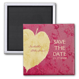 Heart Leaf on Purple - Fall Wedding Save the Date Refrigerator Magnet