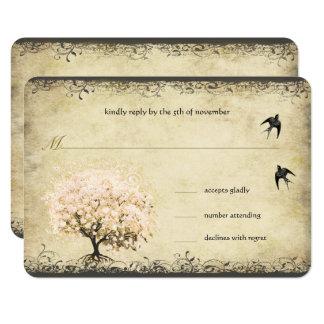 Heart Leaf Pink Tree Vintage Birds Wedding RSVP Card