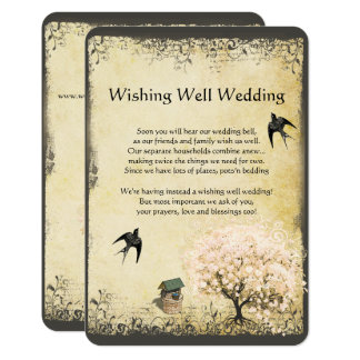 Heart Leaf Pink Tree Vintage Wishing Well Wedding Card