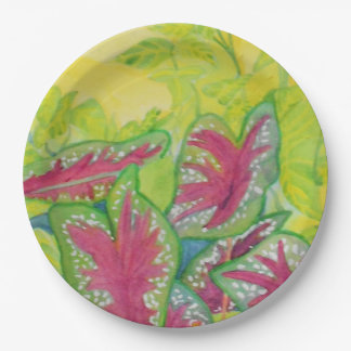 Heart leaf plant in Panama watercolor 9 Inch Paper Plate