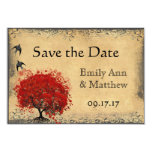 Heart Leaf Red Tree Vintage Bird Save the Date