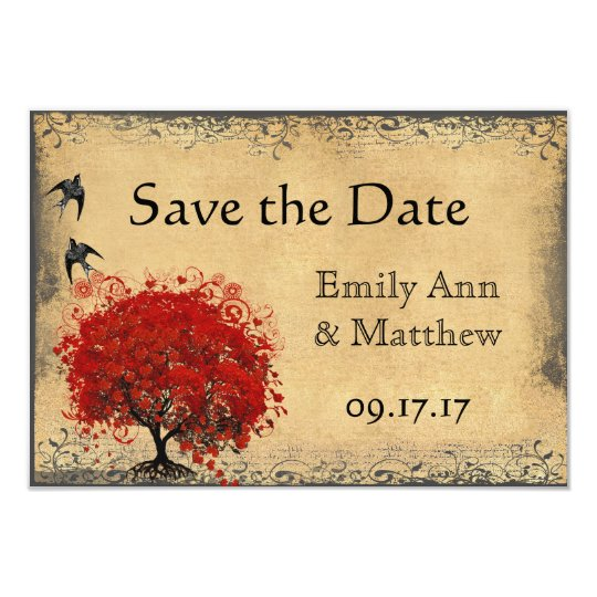 Heart Leaf Red Tree Vintage Bird Save the Date 9 Cm X 13 Cm Invitation Card