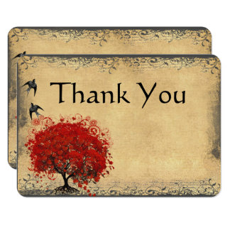 Heart Leaf Red Tree Vintage Bird Wedding Thank You Card