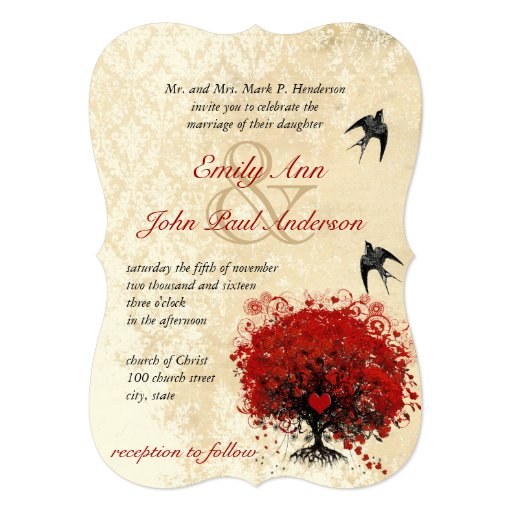 Heart Leaf Red Tree Vintage Birds Wedding Invites