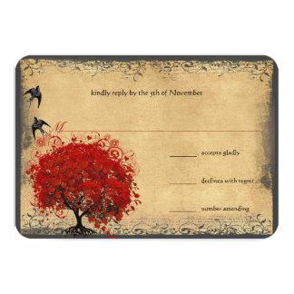 Heart Leaf Red Tree Vintage Birds Wedding RSVP 9 Cm X 13 Cm Invitation Card