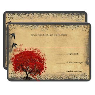 Heart Leaf Red Tree Vintage Birds Wedding RSVP Card