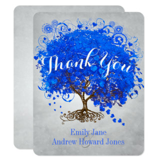 Heart Leaf Royal Blue Tree Thank You Wedding 11 Cm X 14 Cm Invitation Card