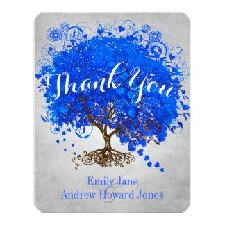 Heart Leaf Royal Blue Tree Thank You Wedding 11 Cm X 14 Cm Invitation Card