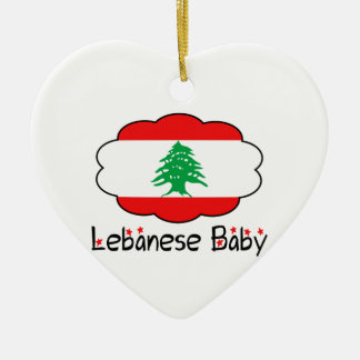 Heart Lebanese Flag Baby Christmas Ornament
