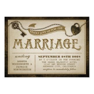 Heart Lock and Skeleton Key Wedding Invitations