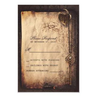 Heart lock & key vintage wedding RSVP cards 9 Cm X 13 Cm Invitation Card