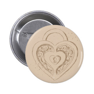 Heart Lock with polkadots 6 Cm Round Badge