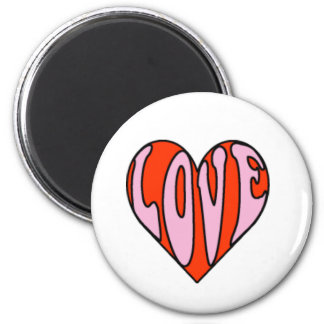 heart love clipart 6 cm round magnet