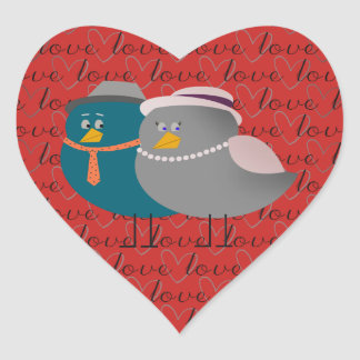 Heart Love Cute Cartoon Birds Funny Retro Couple Heart Sticker