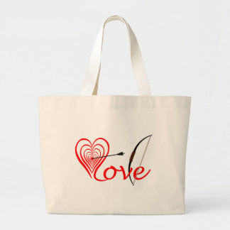 Heart love Dartscheibe with arrow and sheet Large Tote Bag