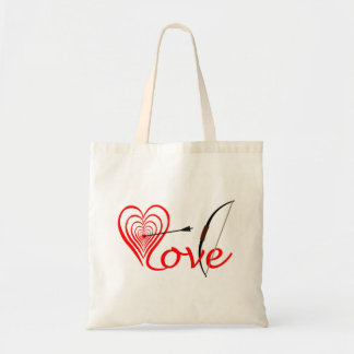 Heart love Dartscheibe with arrow and sheet Tote Bag