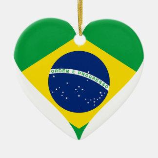 Heart Love Flag Brazil Heart Shaped Ceramic Ornament