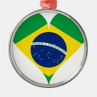 Heart Love Flag Brazil Heart Shaped Metal Ornament
