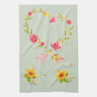 Heart Love Flowers Aeros Kitchen Towel