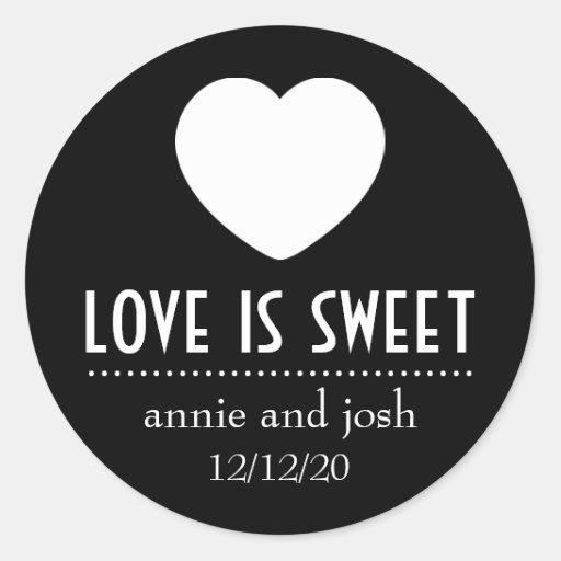 Heart Love Is Sweet Labels (Black) Stickers