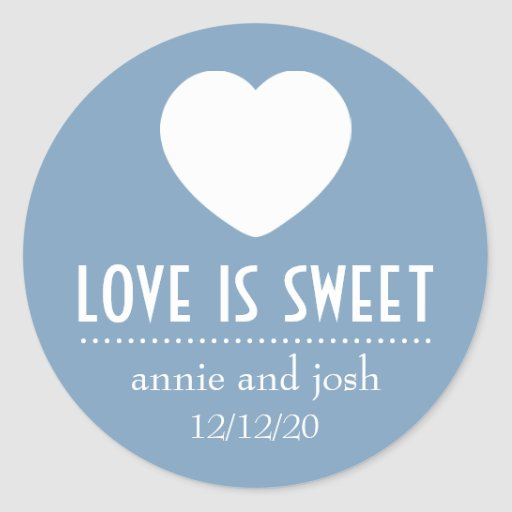Heart Love Is Sweet Labels (Blue Gray) Stickers