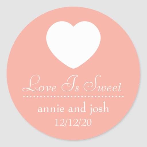 Heart Love Is Sweet Labels (Peach) Round Stickers