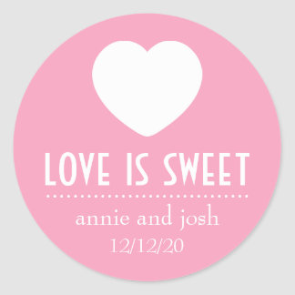 Heart Love Is Sweet Labels Pink Round Stickers