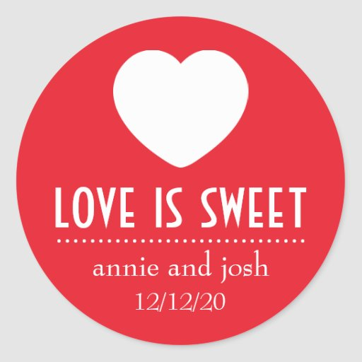 Heart Love Is Sweet Labels (Red) Stickers