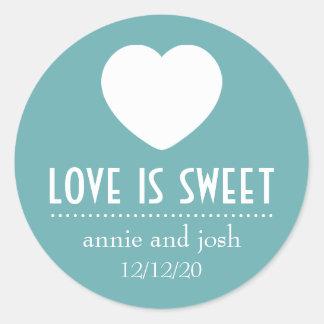 Heart Love Is Sweet Labels (Sea Foam Green) Round Sticker