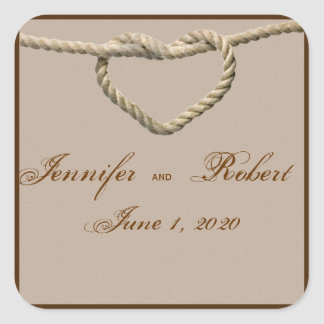 Heart Love Knot Western Wedding Envelope Seal Square Sticker