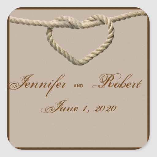 Heart Love Knot Western Wedding Envelope Seal Stickers